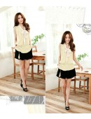Spring Lady Blouse White Tie
